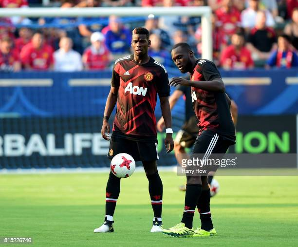 Paul Pogba and Romelo Lukaku of Manchester United warm up before the match against the Los Angeles Galaxy at StubHub Center on July 15 2017 in Carson...