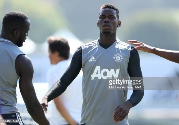 Paul Pogba and Romelu Lukaku of Manchester United in action during a Manchester United Open Training Session at UCLA on July 14 2017 in Carson...