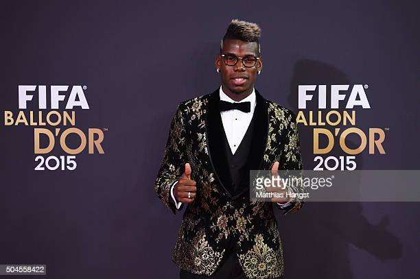 Paul Pogba attends the FIFA Ballon d'Or Gala 2015 at the Kongresshaus on January 11 2016 in Zurich Switzerland