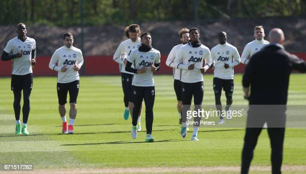 Paul Pogba Henrikh Mkhitaryan Jesse Lingard Michael Carrick Marcus Rashford Daley Blind and Luke Shaw of Manchester United in action during a first...