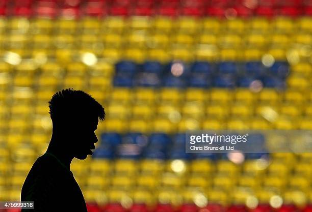 Paul Pogba looks on during the Juventus training session on the eve of the UEFA Champions League Final match against FC Barcelona at the...
