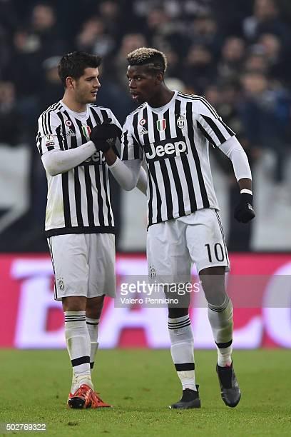 Paul Pogba of FC Juventus celebrates his goal with team mate Alvaro Morata during the TIM Cup match between FC Juventus and Torino FC at Juventus...