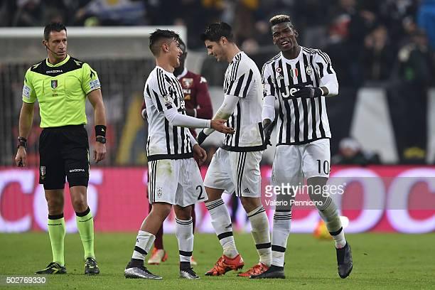 Paul Pogba of FC Juventus celebrates his goal with team mates Alvaro Morata and Paulo Dybala during the TIM Cup match between FC Juventus and Torino...