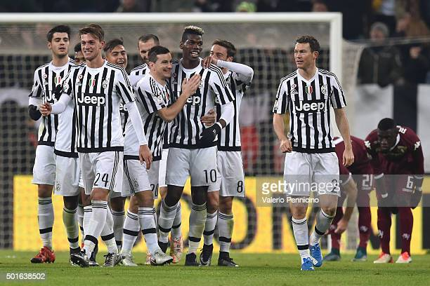 Paul Pogba of FC Juventus celebrates his goal with team mates during the TIM Cup match between FC Juventus and Torino FC at Juventus Arena on...