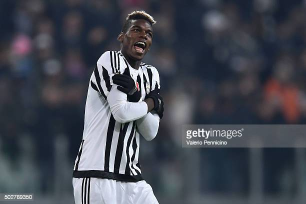 Paul Pogba of FC Juventus celebrates victory at the end of the TIM Cup match between FC Juventus and Torino FC at Juventus Arena on December 16 2015...