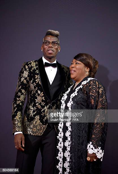 Paul Pogba of France and Juventus arrives with his mother for the FIFA Ballon d'Or Gala 2015 at the Kongresshaus on January 11 2016 in Zurich...