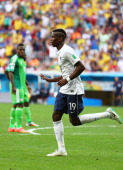 Paul Pogba of France celebrates scoring his team's first goal during the 2014 FIFA World Cup Brazil Round of 16 match between France and Nigeria at...