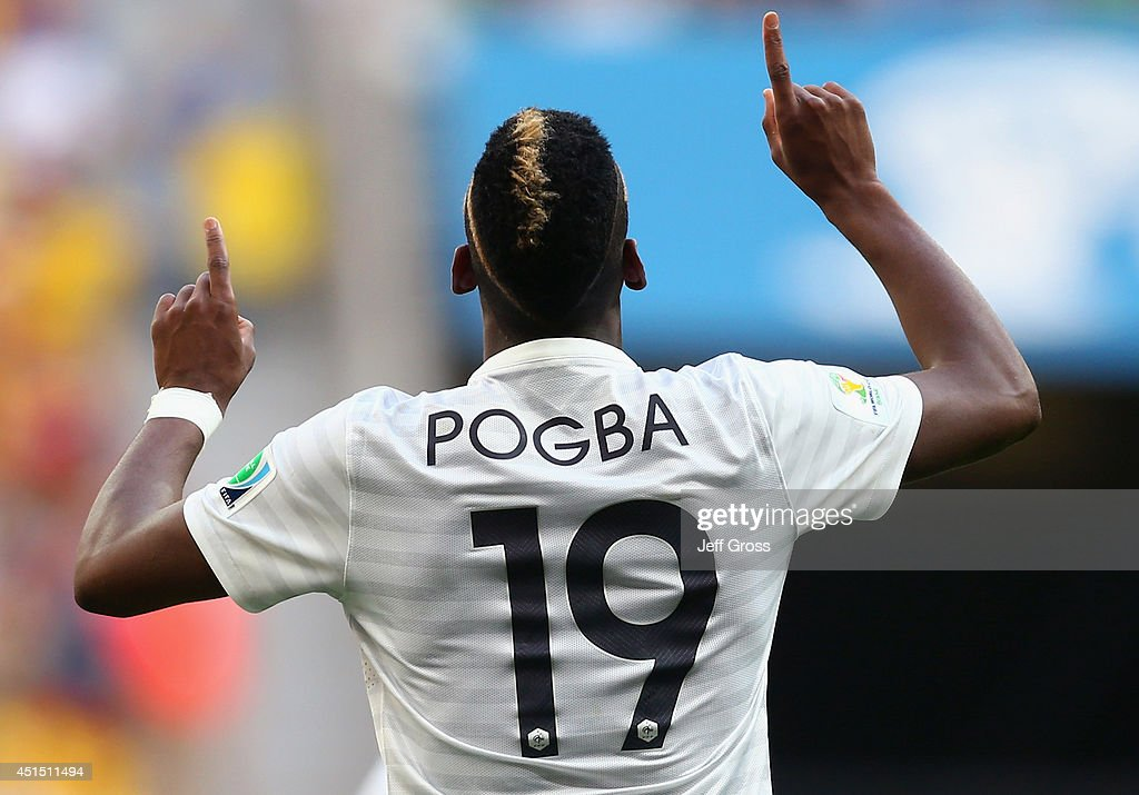 Paul Pogba of France celebrates scoring his team's first goal during the 2014 FIFA World Cup Brazil Round of 16 match between France and Nigeria at Estadio Nacional on June 30, 2014 in Brasilia, Brazil.