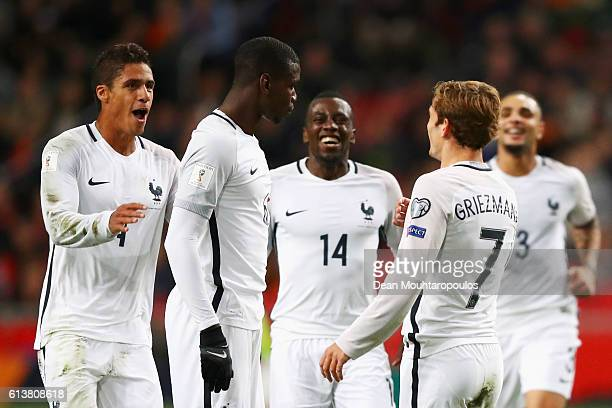 Paul Pogba of France celebrates scoring his teams first goal of the game with team mates during the FIFA 2018 World Cup Qualifier between Netherlands...