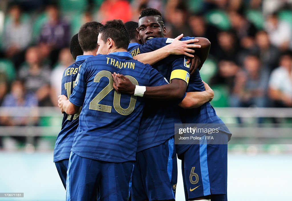 <a gi-track='captionPersonalityLinkClicked' href=/galleries/search?phrase=Paul+Pogba&family=editorial&specificpeople=5805302 ng-click='$event.stopPropagation()'>Paul Pogba</a> (R) of France celebrates with his team mates after scoring his team's second goal during the FIFA U-20 World Cup Quarter Final match between France and Uzbekistan at Yeni Sehir Stadium on July 6, 2013 in Rize, Turkey.