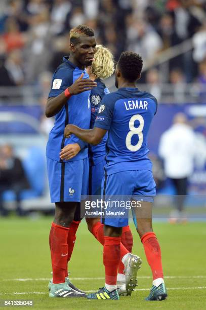 Paul Pogba of France congratulates teammate Thomas Lemar after he scored during the FIFA 2018 World Cup Qualifier between France and The Netherlands...