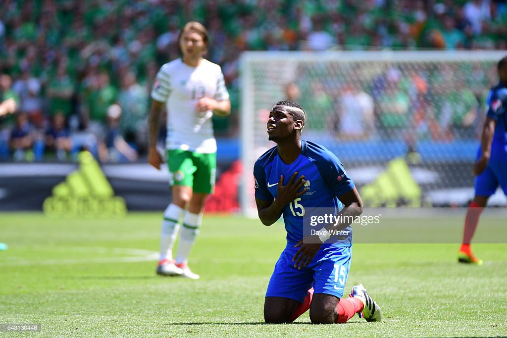 Paul Pogba of France during the European Championship match Round of 16 between France and Republic of Ireland at Stade des Lumieres on June 26, 2016 in Lyon, France.