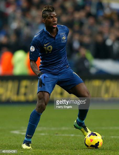Paul Pogba of France in action during the FIFA 2014 World Cup Qualifier 2nd Leg Playoff between France and Ukraine at the Stade de France on November...