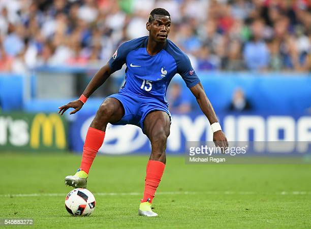 Paul Pogba of France in action during the UEFA EURO 2016 Final match between Portugal and France at Stade de France on July 10 2016 in Paris France