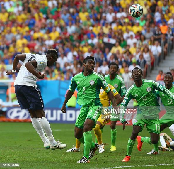 Paul Pogba of France scores his team's first goal on a header during the 2014 FIFA World Cup Brazil Round of 16 match between France and Nigeria at...