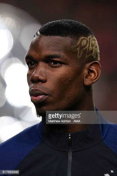 Paul Pogba of France stands for the national anthems prior to the International Friendly match between Netherlands and France at Amsterdam Arena on...