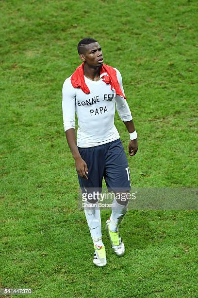 Paul Pogba of France wearing a tshirt to appreciate his father on the father's day after the scoreless draw in the UEFA EURO 2016 Group A match...