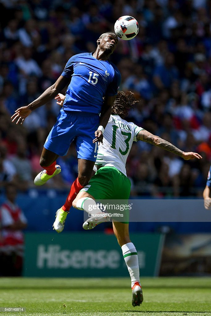 <a gi-track='captionPersonalityLinkClicked' href=/galleries/search?phrase=Paul+Pogba&family=editorial&specificpeople=5805302 ng-click='$event.stopPropagation()'>Paul Pogba</a> of France wins a header above <a gi-track='captionPersonalityLinkClicked' href=/galleries/search?phrase=Jeff+Hendrick+-+Soccer+Player&family=editorial&specificpeople=15923342 ng-click='$event.stopPropagation()'>Jeff Hendrick</a> of Republic of Ireland controls the ball during the UEFA EURO 2016 round of 16 match between France and Republic of Ireland at Stade des Lumieres on June 26, 2016 in Lyon, France.
