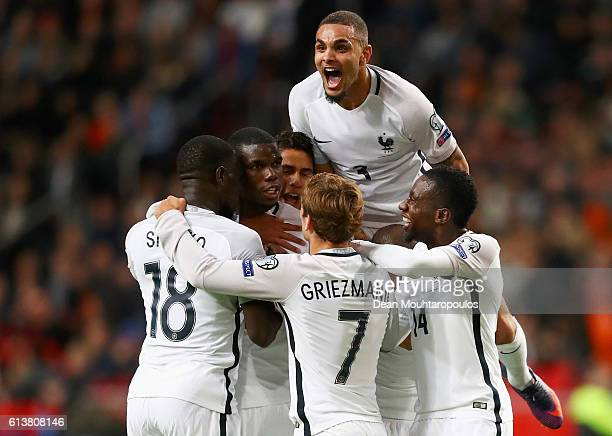 Paul Pogba of Francecelebrates scoring his teams first goal of the game with team mates during the FIFA 2018 World Cup Qualifier between Netherlands...