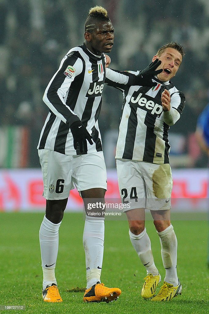 Paul Pogba (L) of Juventus celebrates after scoring the opening goal during the Serie A match between Juventus and Udinese Calcio at Juventus Arena on January 19, 2013 in Turin, Italy.