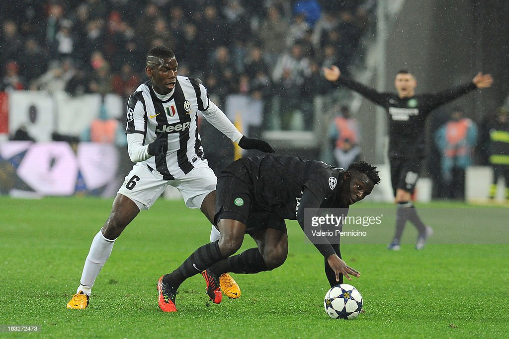 Paul Pogba (L) of Juventus competes with Victor Wanyama of Celtic during the UEFA Champions League round of 16 second leg match between Juventus and Celtic at Juventus Arena on March 6, 2013 in Turin, Italy.