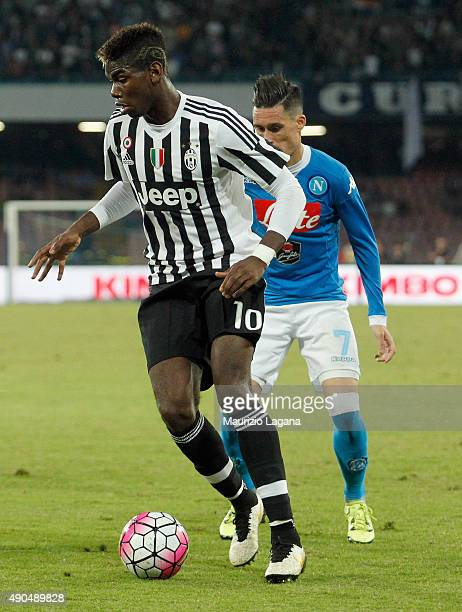 Paul Pogba of Juventus during the Serie A match between SSC Napoli and Juventus FC at Stadio San Paolo on September 26 2015 in Naples Italy