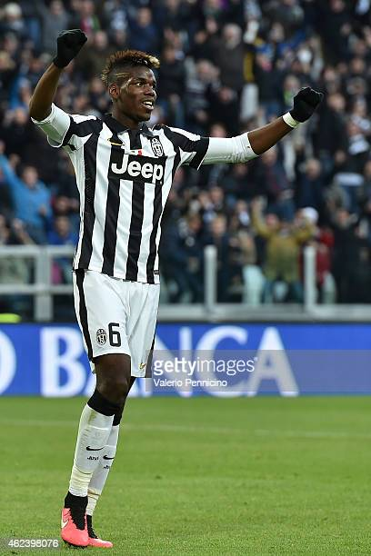 Paul Pogba of Juventus FC celebrates after his teammate Stephan Lichtsteiner scored a goal during the Serie A match between Juventus FC and AC Chievo...