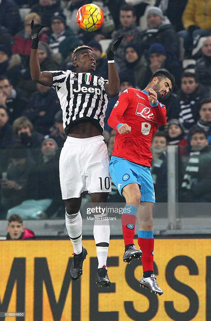 <a gi-track='captionPersonalityLinkClicked' href=/galleries/search?phrase=Paul+Pogba&family=editorial&specificpeople=5805302 ng-click='$event.stopPropagation()'>Paul Pogba</a> of Juventus FC competes for the ball with Elseid Hysaj of SSC Napoli during the Serie A match between and Juventus FC and SSC Napoli at Juventus Arena on February 13, 2016 in Turin, Italy.