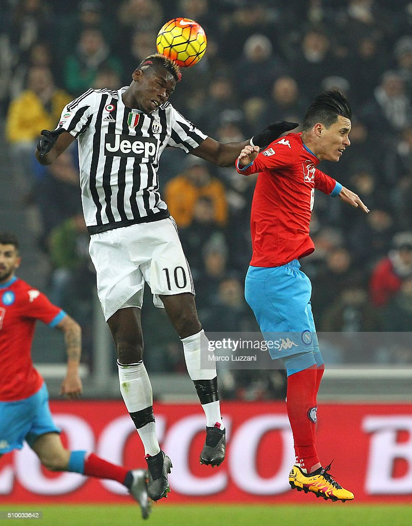 <a gi-track='captionPersonalityLinkClicked' href=/galleries/search?phrase=Paul+Pogba&family=editorial&specificpeople=5805302 ng-click='$event.stopPropagation()'>Paul Pogba</a> of Juventus FC competes for the ball with <a gi-track='captionPersonalityLinkClicked' href=/galleries/search?phrase=Jose+Maria+Callejon&family=editorial&specificpeople=6671079 ng-click='$event.stopPropagation()'>Jose Maria Callejon</a> of SSC Napoli during the Serie A match between and Juventus FC and SSC Napoli at Juventus Arena on February 13, 2016 in Turin, Italy.