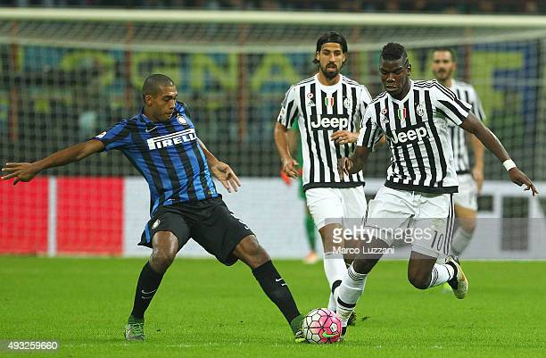 Paul Pogba of Juventus FC competes for the ball with Juan Guilherme Nunes Jesus FC Internazionale Milano during the Serie A match between FC...