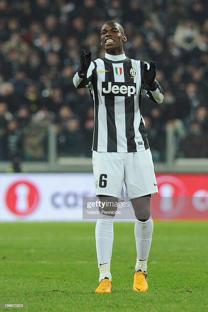 Paul Pogba of Juventus FC gestures during the TIM cup match between Juventus FC and S.S. Lazio at Juventus Arena on January 22, 2013 in Turin, Italy.