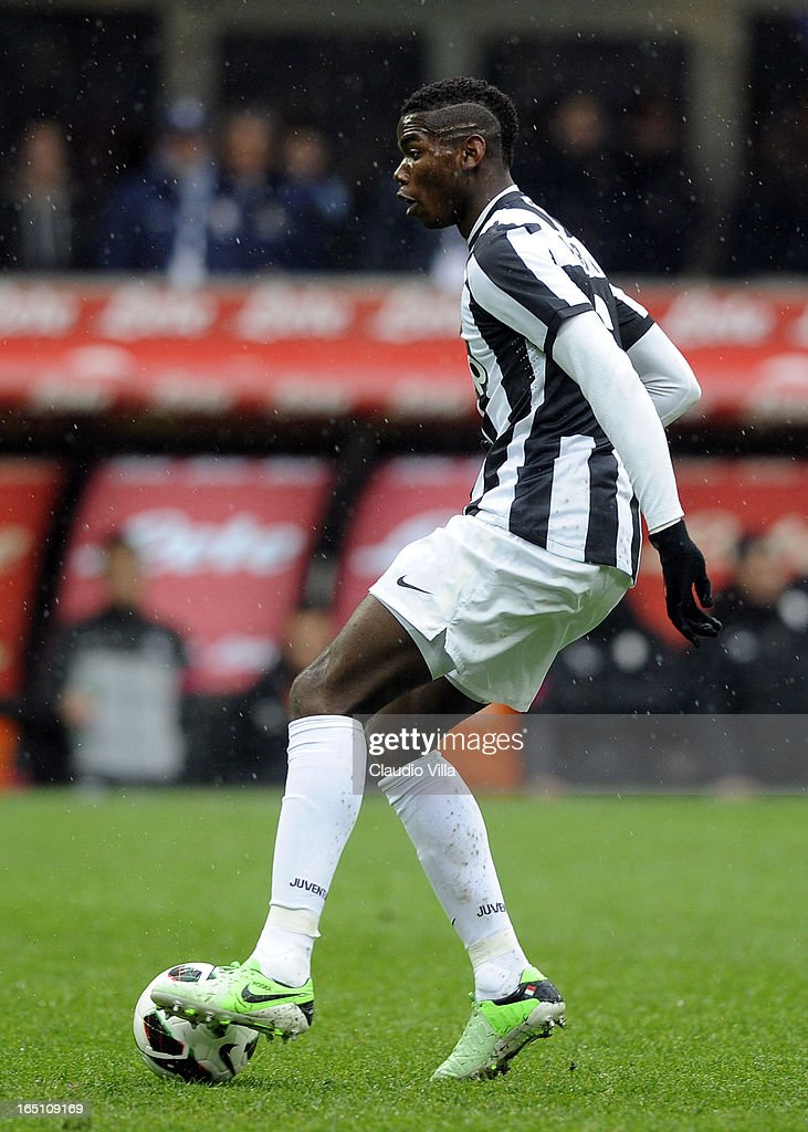 Paul Pogba of Juventus FC in action during the Serie A match between FC Internazionale Milano and Juventus FC at San Siro Stadium on March 30, 2013 in Milan, Italy.