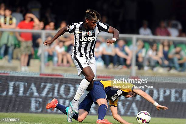 Paul Pogba of Juventus FC in action during the Serie A match between Hellas Verona FC and Juventus FC at Stadio Marc'Antonio Bentegodi on May 30 2015...