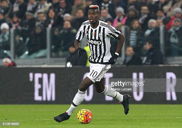 Paul Pogba of Juventus FC in action during the Serie A match between and Juventus FC and SSC Napoli at Juventus Arena on February 13 2016 in Turin...