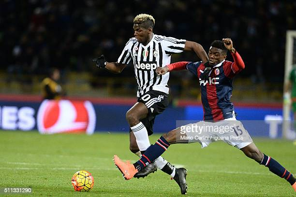 Paul Pogba of Juventus FC in action during the Serie A match between Bologna FC and Juventus FC at Stadio Renato Dall'Ara on February 19 2016 in...