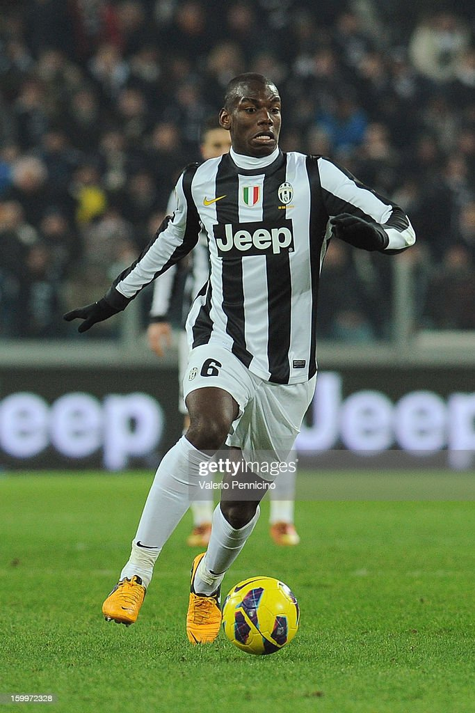 Paul Pogba of Juventus FC in action during the TIM cup match between Juventus FC and S.S. Lazio at Juventus Arena on January 22, 2013 in Turin, Italy.