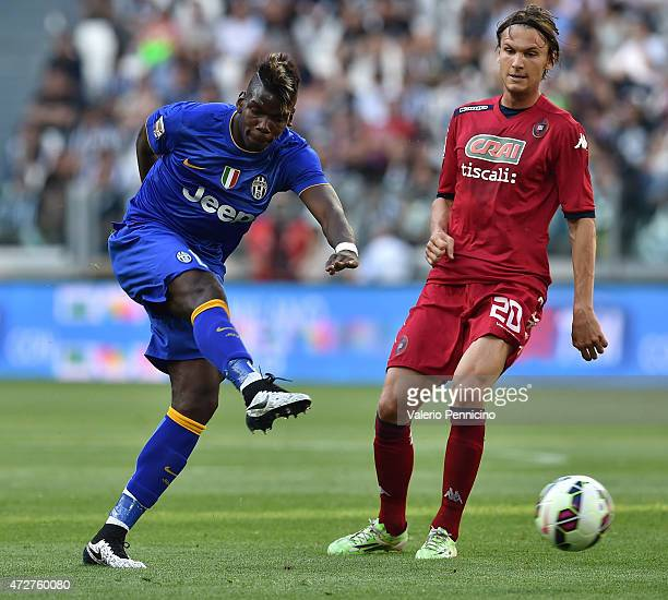 Paul Pogba of Juventus FC kicks the ball during the Serie A match between Juventus FC and Cagliari Calcio at Juventus Arena on May 09 2015 in Turin...