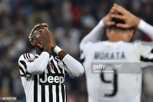 Paul Pogba of Juventus FC looks dejected during the Serie A match between Juventus FC and AC Chievo Verona at Juventus Arena on September 12 2015 in...