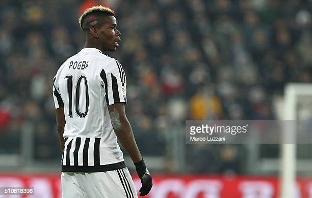 Paul Pogba of Juventus FC looks on during the Serie A match between and Juventus FC and SSC Napoli at Juventus Arena on February 13 2016 in Turin...