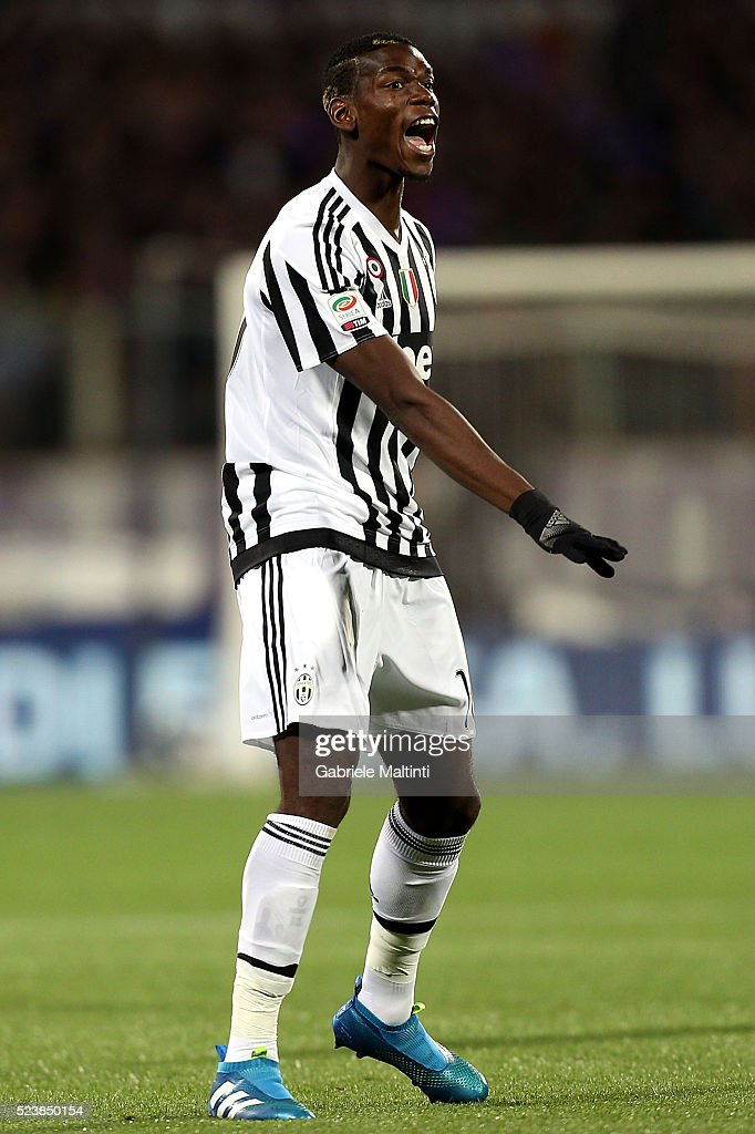 Paul Pogba of Juventus FC reatcs during the Serie A match between ACF Fiorentina and Juventus FC at Stadio Artemio Franchi on April 24, 2016 in Florence, Italy.