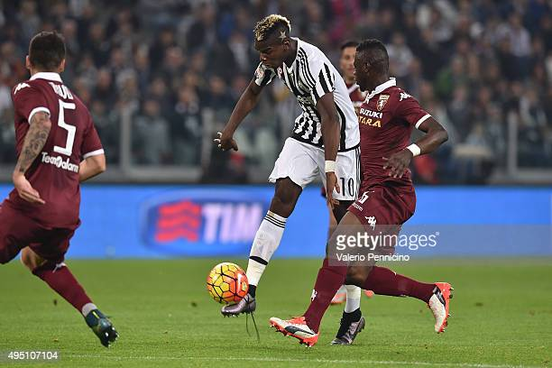 Paul Pogba of Juventus FC scores the opening goal during the Serie A match between Juventus FC and Torino FC at Juventus Arena on October 31 2015 in...