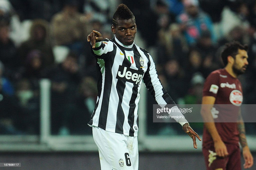 Paul Pogba of Juventus gestures during the Serie A match between Juventus and Torino FC at Juventus Arena on December 1, 2012 in Turin, Italy.