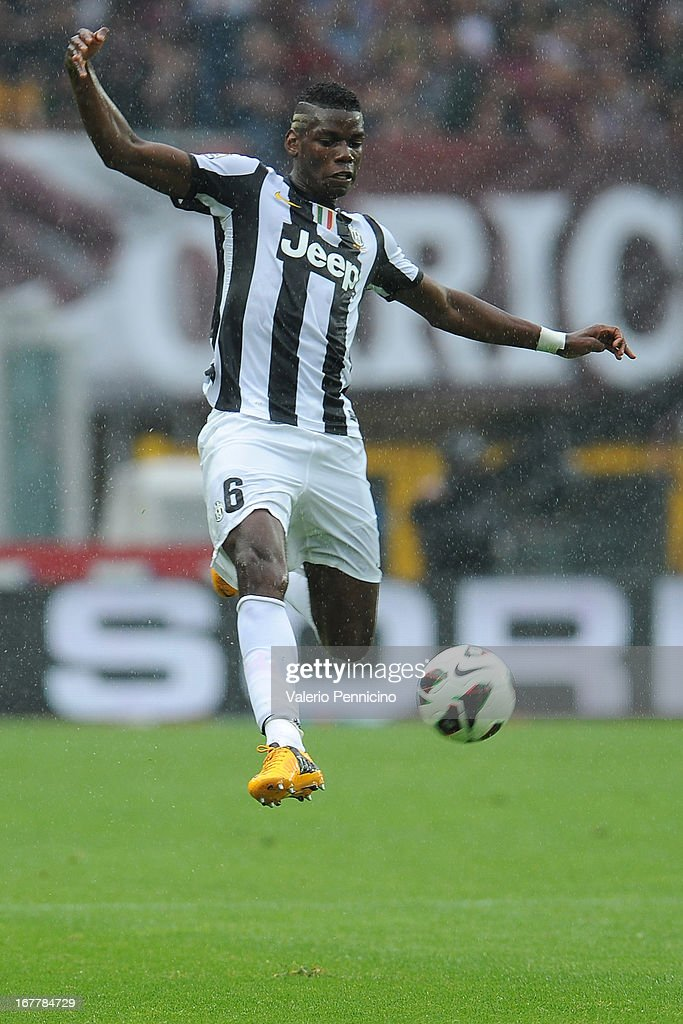 Paul Pogba of Juventus in action during the Serie A match between Torino FC and Juventus at Stadio Olimpico di Torino on April 28, 2013 in Turin, Italy.