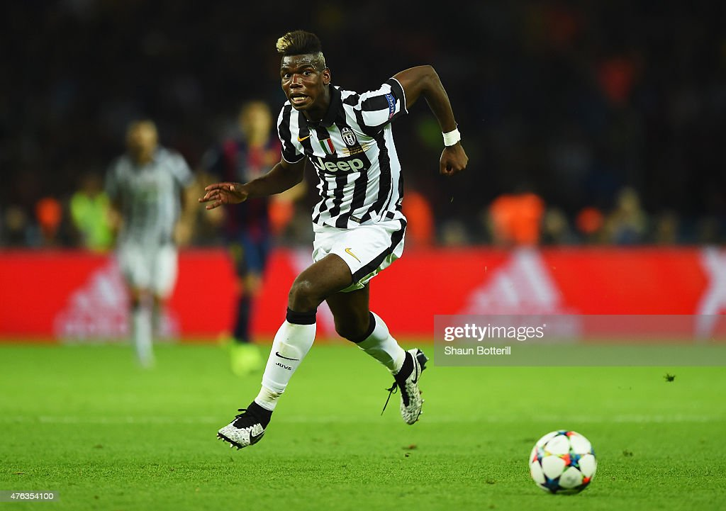 Paul Pogba of Juventus in action during the UEFA Champions League Final between Juventus and FC Barcelona at Olympiastadion on June 6, 2015 in Berlin, Germany.