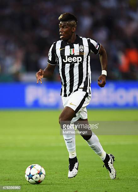 Paul Pogba of Juventus in action during the UEFA Champions League Final between Juventus and FC Barcelona at Olympiastadion on June 6 2015 in Berlin...