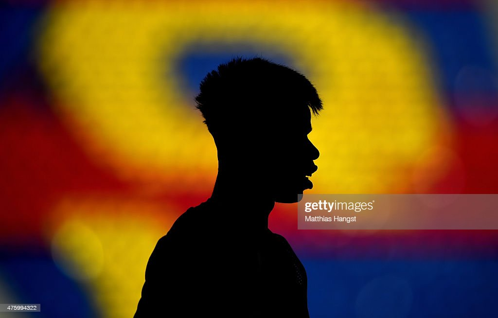 Paul Pogba of Juventus looks on during a Juventus training session on the eve of the UEFA Champions League Final match against FC Barcelona at Olympiastadion on June 5, 2015 in Berlin, Germany.