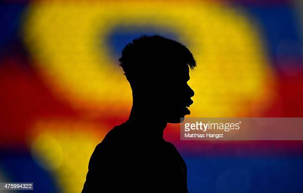 Paul Pogba of Juventus looks on during a Juventus training session on the eve of the UEFA Champions League Final match against FC Barcelona at...