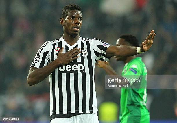 Paul Pogba of Juventus reacts to a missed chance during the UEFA Champions League group stage match between Juventus and VfL Borussia...