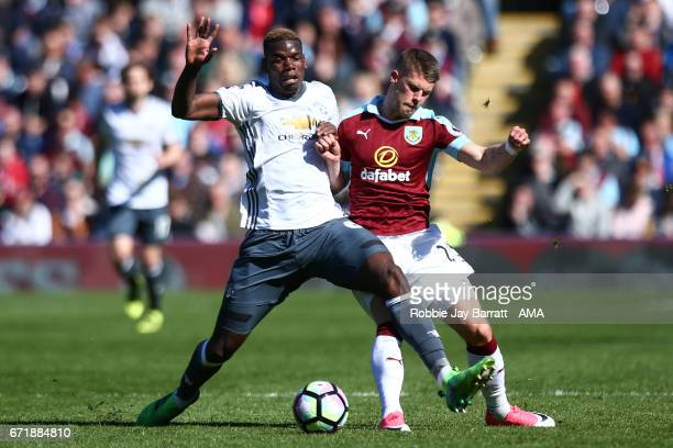 Paul Pogba of Manchester United and Johann Gudmundsson of Burnley during the Premier League match between Burnley and Manchester United at Turf Moor...