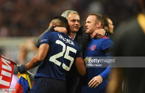 Paul Pogba of Manchester United and Jose Mourinho Manager of Manchester United celebrate following victory in the UEFA Europa League Final between...